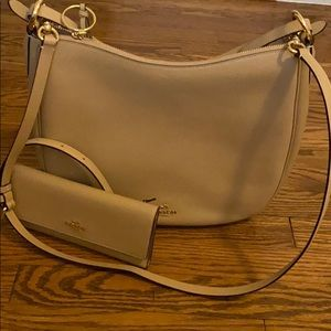 Sand colored coach bag with matching wallet